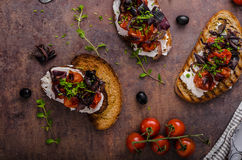 Toast with roasted vegetable Stock Image