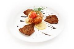 Toast with salad, lemon and tomatoes on white background Stock Image