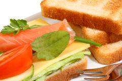 Toast with salmon. Royalty Free Stock Image