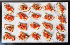 Toast with salsa sauce. On buffet table royalty free stock photography