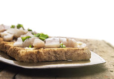 Toast with salted herring,isolated Stock Photography