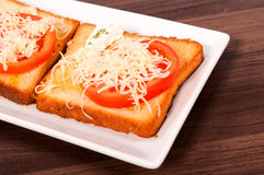Toast sandwich. Cheese and tomato on toast bread Royalty Free Stock Photo