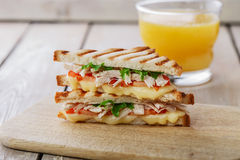 Toast sandwich grill with chicken Stock Photo