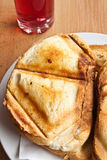 Toast sandwich. Made in a triangular press grilling stock photography