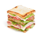 Toast sandwich with meat and vegetables Stock Photography