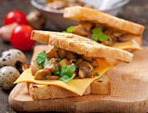 Toast sandwich with mushroom Stock Photos