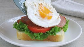 Toast sandwich salad tomato salami fry egg  lay outt stock footage