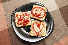 Toast sandwich smile and heart -ham, cheese, ketchup. Royalty Free Stock Photos