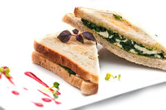 Toast sandwich with spinach, tofu and cheese on white plate, isolated on white background Royalty Free Stock Images