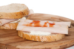Toast sandwich with turkey breasts and ketchup Royalty Free Stock Photos