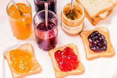Toast sandwiches with peanut butter and jam Royalty Free Stock Images