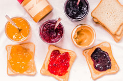 Toast sandwiches with peanut butter and jam Stock Photography