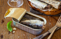 Toast with sardines Royalty Free Stock Image