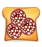 Toast with sausage vector illustration Stock Images