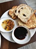 Toast served with variety jam. Toast served with passion fruit jam and mulberry jam Stock Image