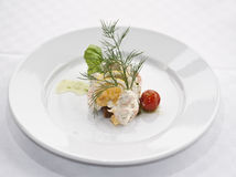 Toast Skagen. A white plate with a swedish appetizer called toast Skagen Stock Images