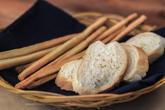 Toast slices and cheese strips in basket Stock Photos