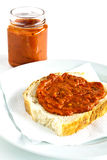 Toast smeared with chutney Royalty Free Stock Photo