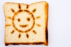 Toast with smiling sun burned Stock Photos