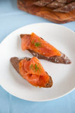 Toast with smoked salmon Stock Photo