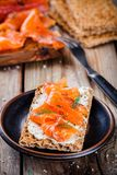 Toast with smoked salmon Royalty Free Stock Image