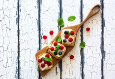 Toast with soft cheese and berries Royalty Free Stock Photography