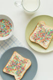 Toast with sprinkles Stock Images