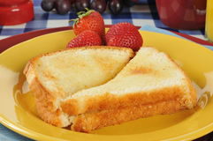 Toast and strawberries Stock Photography