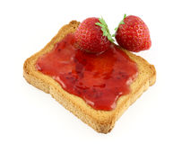 Toast and strawberry jam Stock Photo