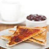 Toast with Strawberry Jam Royalty Free Stock Photos