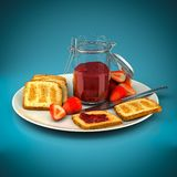 Toast with strawberry jam Stock Photos