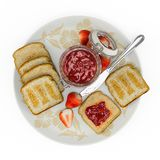 Toast with strawberry jam and butter royalty free illustration