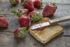 Toast and strawberry jam Royalty Free Stock Photo