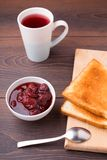 Toast and strawberry jam Royalty Free Stock Photography