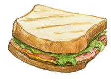 Toast stuffed. Hand-painted watercolor illustration Stock Images