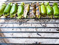 Toast stuffed with sticky rice. In charcoal grills grill Stock Image