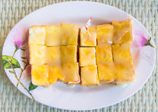 Toast with sweetened condensed milk Stock Images