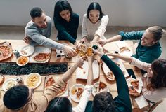 Toast to friends! stock photography