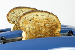 Toast and Toaster. Toasted slices of bread with seeds in a blue toaster Stock Image