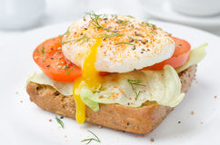 Toast with tomato and poached egg Royalty Free Stock Images