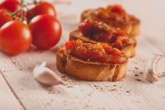 Toast with tomato sauce. Royalty Free Stock Photos