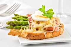 Bacon and asparagus on toast Royalty Free Stock Photography