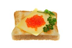 Toast with trout caviar. Stock Images