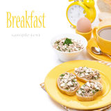 Toast with tuna, fresh herbs and homemade cheese for breakfast Royalty Free Stock Image