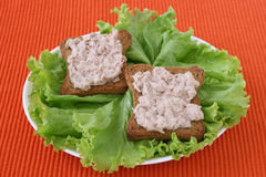 Toast with tuna paste Royalty Free Stock Photography