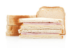 Toast with turkey and cheese. Junkfood. Stock Images