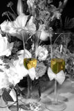 Toast for two. Bride adn grooms champagne glasses Stock Image