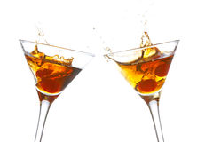 Toast with two cocktail glasse. S on white background Royalty Free Stock Images
