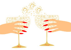 Toast two girlfriends with glasses of wine. And scalable  illustration Stock Photo