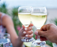 Toast for two to the sea. Royalty Free Stock Image